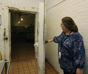Staff pointed out aging facilities in the dietary center that is using equipment that came off of WWII era ships.  Another door like this one can't be opened because the frame will collapse.