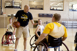 Ron Lykins coaches the Missouri men's wheel chair basketball team.