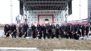 St. Louis Cardinals and other officials break ground on Ballpark Village next to Busch Stadium in St. Louis.    UPI/Bill Greenblatt