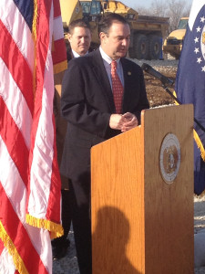 Senators Mike Kehoe and Ryan McKenna announce legislation from a road construction site on Highway 50 near Jefferson City.