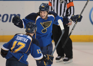 St. Louis Blues Chris Stewart (25) celebrates his overtime, game winning goal with Vladimir Sobotka .    UPI/Bill Greenblatt