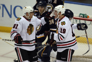 Chicago Blackhawks Jonathan Toews (R) celebrates his second goal of the game with teammate Marian Hossa. UPI/Bill Greenblatt