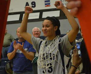 Kayla Washington celebrates the Lady Cougar's conference championship. (Columbia Athletics)
