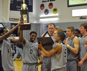 Columbia College's men's basketball team celebrates their conference championship and 33-0 record. (Columbia athletics)