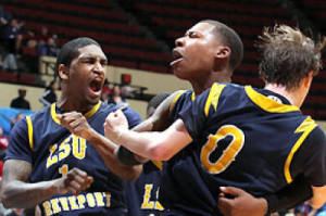 LSU-Shreveport celebrates their victory over Columbia College. (NAIA photos)