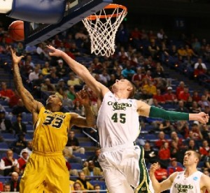 Missouri's Earnest Ross (33) battles Colton Iverson (45) of CSU for a rebound. (Mizzou Athletics)