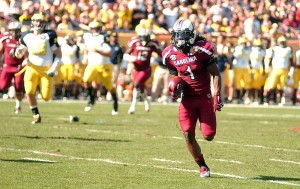 Ace Sanders returns a punt during the Outback Bowl.  He was named the game's MVP.