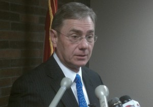 Congressman Blaine Luetkemeyer (R-St. Elizabeth) fields questions from the media about the sharing of concealed carry information with the Social Security Administration.
