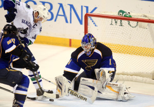 St. Louis Blues goaltender Brian Elliott prepares to stop Vascouver Canucks Henrik Sedin of Finland from shooting the puck in the third period at the Scottrade Center in St. Louis on April 16, 2013. St. Louis won the game 2-1 in a shootout.    UPI/Bill Greenblatt