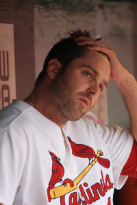 St. Louis Cardinals pitcher Mitchell Boggs watches a video replay board as he sits in the dugout after coming out of the game against the  Pittsburgh Pirates in the ninth inning at Busch Stadium in St. Louis on April 28, 2013. Pittsburgh won the game 9-0.    UPI/Bill Greenblatt