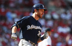 Milwaukee Brewers Jonathan Lucroy trots around the bases after hitting the go-ahead, solo home run in the tenth inning agains the St. Louis Cardinals at Busch Stadium in St. Louis on April 14, 2013. Milwaukee won the game 4-3 in ten innings.      UPI/Bill Greenblatt