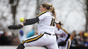 Chelsea Thomas delivers a pitch in March against Georgia Tech. (Ben Walton photo, courtesy of Mizzou Athletics)
