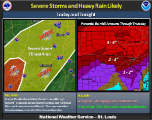 The St. Louis NWS office's severe weather outlook for today and tomorrow.