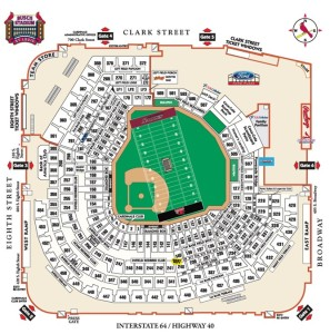 Seating chart and field outline for SEMO football game.  Courtesy, St. Louis Cardinals