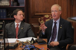 House Speaker Tim Jones (left) and House Budget Committee Chairman Rick Stream (photo courtesy; Tim Bommel, Missouri House Communications)