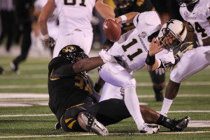 Missouri Tigers Sheldon Richardson brings Vanderbilt Commodores quarterback Jordan Rodgers down for a sack in the second quarter at  Faurot Field in Columbia, Missouri on October 6, 2012.    UPI/Bill Greenblatt