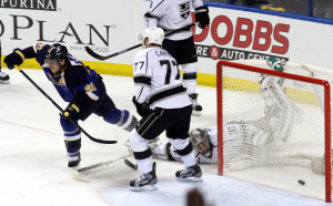 St.Louis Blues' Alex Steen skates away from after scoring the winning goal in overtime at the Scottrade Center in St.Louis.The Blues defeat the Kings 2-1 in overtime.UPI/Robert Cornforth