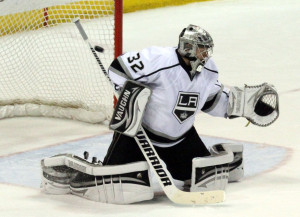 Los Angeles Kings Goaltender gives up  the game winning goal in the third period at the Scottrade Center in St.Louis on May 2,2013.The Blues defeated the Kings 2-1.UPI/Robert Cornforth