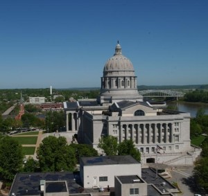 A supplemental budget bill passed out of the State House on Thursday would spend $50 million on the Missouri State Capital, and put money toward renovation of the Department of Transportation Building (foreground).  (Photo courtesy; Missouri House Communications)