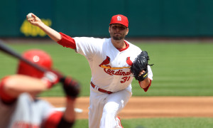 St. Louis Cardinals starting pitcher Lance Lynn delivers a pitch to the Cincinnati Reds in the third inning at Busch Stadium in St. Louis on May 1, 2013. UPI/Bill Greenblatt
