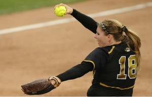Mizzou's Chelsea Thomas delivers a pitch during last year's regional final against Illinois State. (Courtesy, Mizzou Athletics)