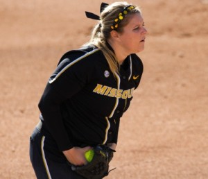 Chelsea Thomas delivers a pitch against Washington.  (MU Athletics)