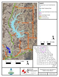 This map shows where the new lake would go upon completion of the East Locust Creek Reservoir Project.  (image courtesy; John Holmes, Allstate Consultants)