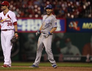 Kansas City Royals Eric Hosmer yells out after reaching second base with a two RBI double in the ninth inning against the St. Louis Cardinals at Busch Stadium in St. Louis on May 30, 2013. UPI/Bill Greenblatt