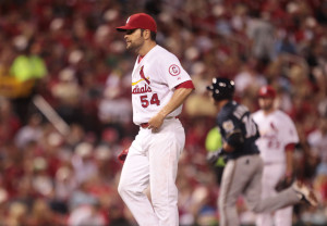 St. Louis Cardinals starting pitcher Jaime Garcia can only watch as Milwaukee Brewers Aramis Ramirez runs the bases after hitting his second three run home run of the game in the sixth inning at Busch Stadium in St. Louis on May 17, 2013.  Ramirez also hit one in the fourth inning.   UPI/Bill Greenblatt