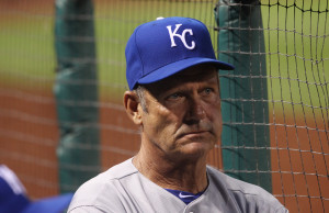 Former Kansas City Royals slugger and National Baseball Hall of Fame member George Brett watches as the team's interim hitting coach during a games against the St. Louis Cardinals at Busch Stadium in St. Louis on May 30, 2013. UPI/Bill Greenblatt