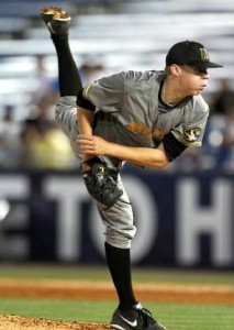 Rob Zastryzny delivers a pitch Tuesday night against the Bulldogs, during the SEC Tournament.  (Mizzou Athletics)