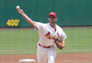St. Louis Cardinals starting pitcher Adam Wainwright delivers a pitch to the New York Mets in the third inning at Busch Stadium in St. Louis on May 16, 2013.  UPI/Bill Greenblatt
