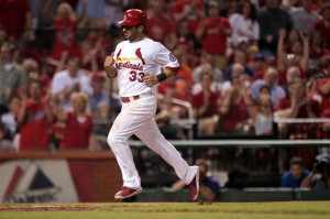 St. Louis Cardinals Daniel Descalso trots home after scoring from third base on a wild pitch in the seventh inning against the New York Mets at Busch Stadium in St. Louis on May 15, 2013.  UPI/Bill Greenblatt