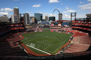 The playing surface of Busch Stadium has been transformed from a baseball field to a soccer field on May 22, 2013, as preperations are being made for a soccer game between Chelsea and Manchester City in St. Louis on May 23, 2013. UPI/Bill Greenblatt