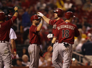 Arizona Diamonbacks Paul Goldschmidt is greeted at home plate by teammates after hitting a grand slam home in the seventh inning against the St. Louis Cardinals at Busch Stadium in St. Louis on June 5, 2013.  UPI/Bill Greenblatt