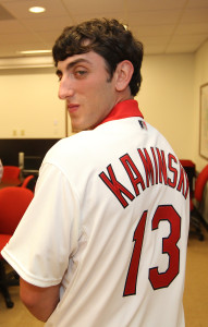St. Louis Cardinals 1st round pick pitcher Rob Kaminsky tries on a jersey for the first time after signing his contract at Busch Stadium in St. Louis on June 18, 2013.  The left handed pitcher Kaminsky was the 28th overall selection from St. Joseph's Regional High School in New Jersey. UPI/Bill Greenblatt