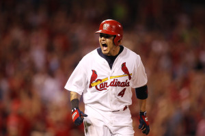 St. Louis Cardinals Yadier Molina yells to his bench after hitting a two run home run in the sixth inning against the Chicago Cubs at Busch Stadium in St. Louis on June 19, 2013   UPI/Bill Greenblatt