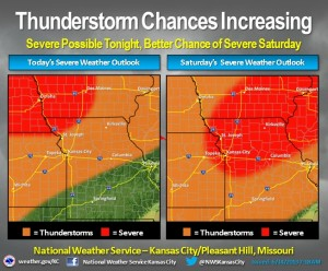 The severe weather outlook for Friday and Saturday. (courtesy; National Weather Service, Pleasant Hill)