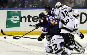 St.Louis Blues' David Perron (57) skates over Los Angeles Kings' goaltender Jonathan Quick (32) in the first period at the Scottrade Center in St.Louis on May 2,2013.UPI/Robert Cornforth
