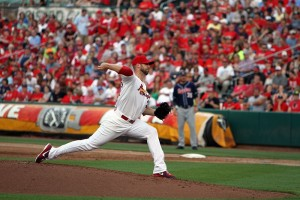 Chris Carpenter delivers a pitch during his rehab start in Springfield, MO.  (Chase Snider - KTTS Radio)