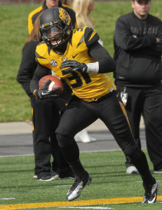Missouri Tigers E.J. Gaines runs the football back for a touchdown after a fumble in the fourth quarter against the Kentucky Wildcats at Faurot Field in Columbia, Missouri on October 27, 2012. Missouri won the game 33-10.    UPI/Bill Greenblatt