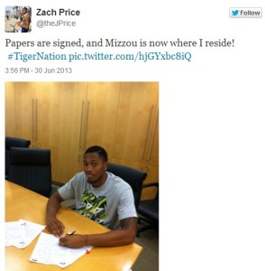Zach Price announced Sunday afternoon, he's coming to Mizzou. (Photo from Twitter @theJPrice)