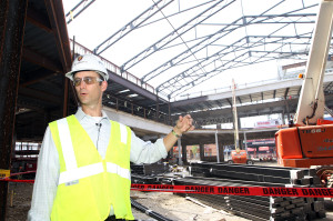 Bill DeWitt III, president of the St. Louis Cardinals gives the media a tour of the first building being constructed at Ballpark Village, during the topping off ceremony in St. Louis on August 27, 2013. Ballpark Village, located next to Busch Stadium, is a development that will eventually be a mixed-use retail, entertainment, office and residential district.  UPI/Bill Greenblatt