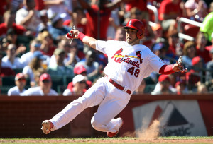 St. Louis Cardinals Tony Cruz slides home scoring from second base on a single by Pete Kozma in the sixth inning at Busch Stadium in St. Louis on August 11, 2013.  St. Louis won the game 8-4. UPI/Bill Greenblatt