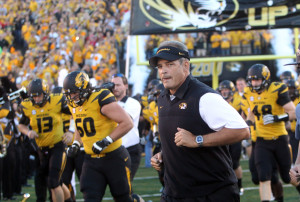 Missouri Tigers head coach Gary Pinkel leads his team onto the field for a game against the Georgia Bulldogs at Faurot Field in Columbia, Missouri on September 8, 2012. This game marks the first for Missouri as a member of the SEC Conference. UPI/Bill Greenblatt