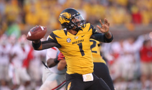 Missouri Tigers quarterback James Franklin rears back to throw the football in the first quarter against the Georgia Bulldogs at Faurot Field in Columbia, Missouri on September 8, 2012. This game marks the first for Missouri as a member of the SEC Conference. UPI/Bill Greenblatt