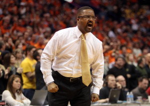 Missouri Tigers head basketball coach Frank Haith yells to his players in the second half against  Illinois in the 32nd Annual Braggin' Rights game at the Scottrade Center in St. Louis on December 22, 2012. Missouri won the game 82-73.UPI/Bill Greenblatt
