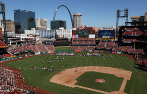 Busch Stadium has been converted into a football stadium as Southeast Missouri State takes on Southern Illinois University in the first football game to be played in Busch Stadium III in St. Louis on September 21, 2013. UPI/Bill Greenblatt