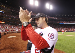 St. Louis Cardinals manager Mike Matheny claps to the fans as he leaves the field after winning the National League Central Division title, defeating the Chicago Cubs 7-0 at Busch Stadium in St. Louis on September 27, 2013. UPI/Bill Greenblatt