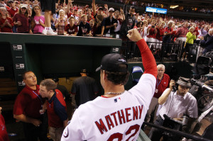 St. Louis Cardinals manager Mike Matheny pumps up the crowd as the team leaves the field, winning the National League Central Division title after defeating the Chicago Cubs 7-0 at Busch Stadium in St. Louis on September 27, 2013. UPI/Bill Greenblatt